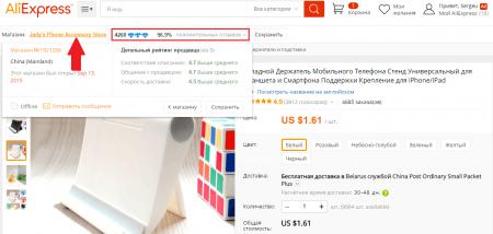 Рейтинг продавца товара на AliExpress