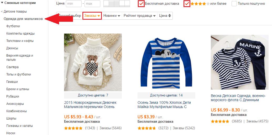 Категории детских товаров на Aliexpress