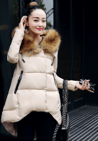 Женский зимний пуховик с AliExpress на картинке