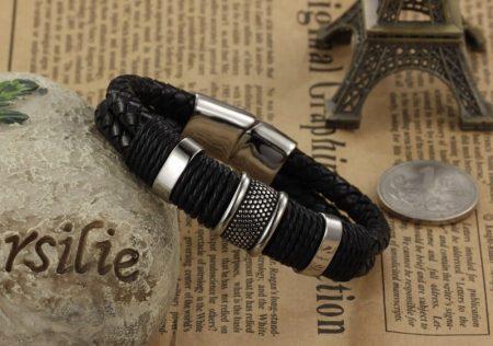 Мужской модный кожаный браслет с AliExpress на картинке