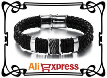 Мужской модный кожаный браслет с AliExpress