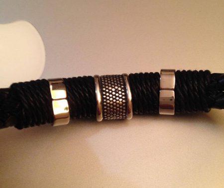 Мужской модный кожаный браслет с AliExpress вблизи