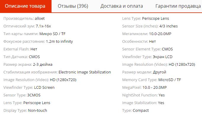 Характеристики цифровой камеры на AliExpress