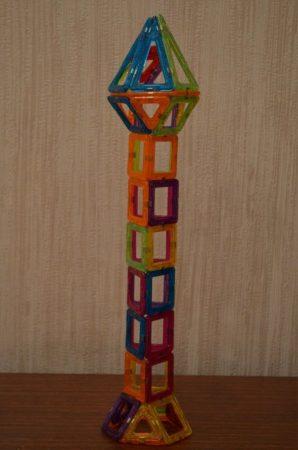 Детский магнитный конструктор с AliExpress башня