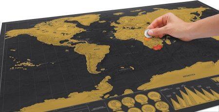 Карта мира со стираемым слоем с AliExpress монетка