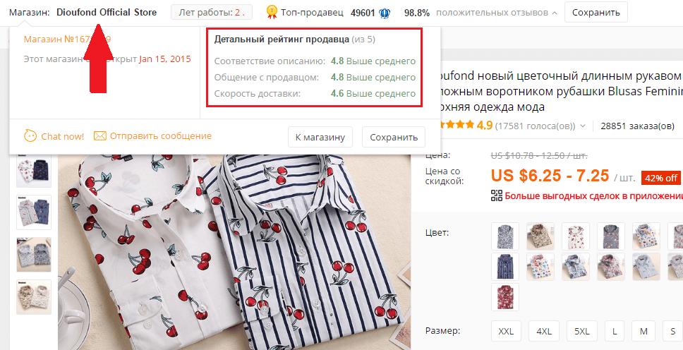 Проверка продавца женской рубашки на AliExpress