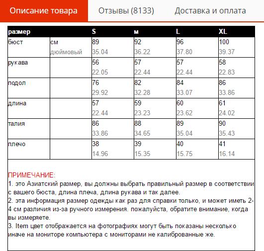Таблица размеров женской кофты на AliExpress