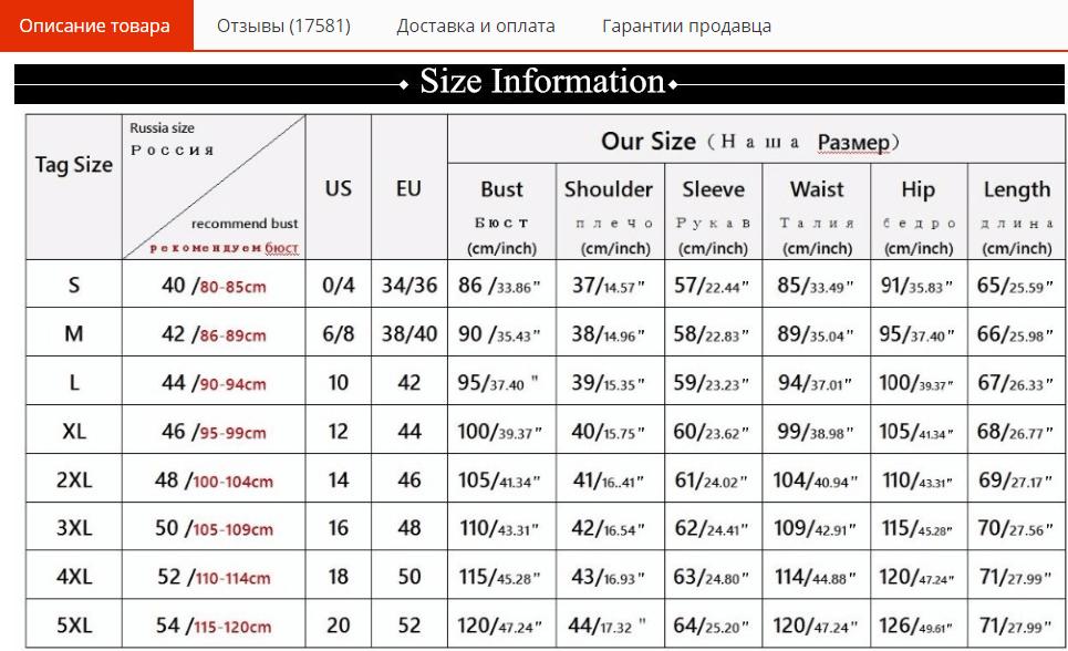 Таблица размеров женской рубашки на AliExpress