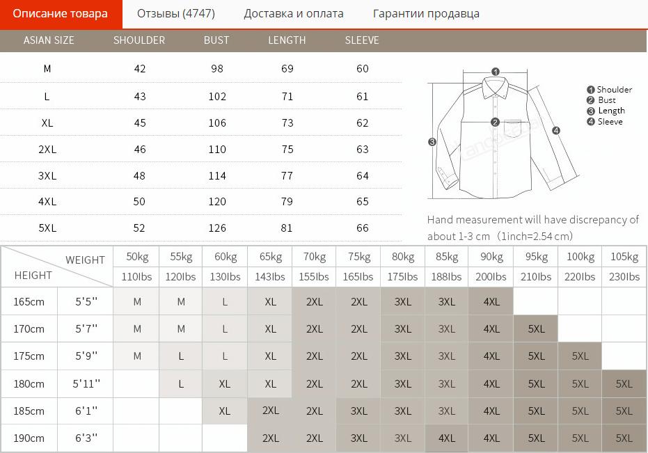 Таблица размеров мужской рубашки на AliExpress