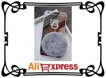 Силиконовый чехол с меховым шариком для iPhone с AliExpress