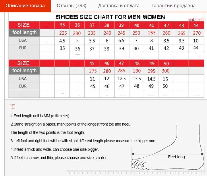 Таблица размеров мужских сандаль на AliExpress
